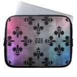 Pretty gothic fleur de lis pattern in cool colors laptop computer sleeve