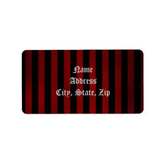 Pretty gothic striped address address label