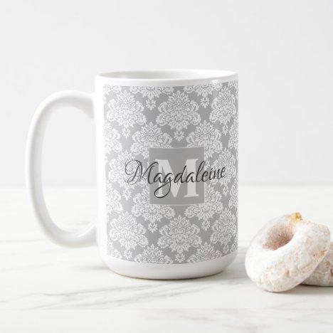 Pretty Gray Floral Damask Pattern Monogram & Name Coffee Mug