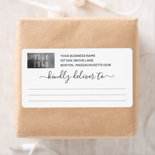 Pretty Gray Kindly Deliver To Logo Shipping Label