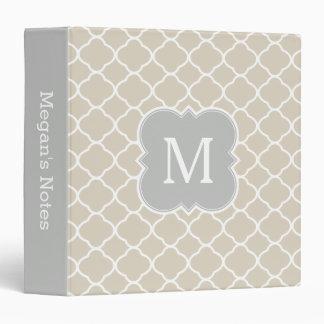Pretty Gray Tan Custom Monogram Quatrefoil Binder