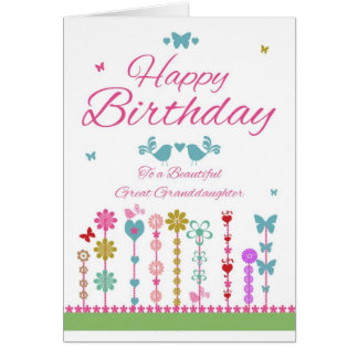 Pretty Great Granddaughter Birthday Card Butterfly