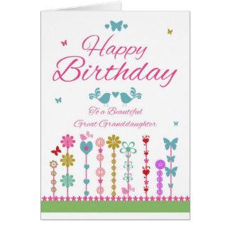 Pretty Great Granddaughter Birthday Card Butterfly