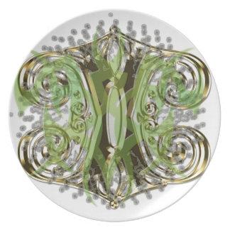 Pretty green abstract design melamine plate