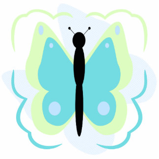 Pretty Green And Cyan Butterfly Ornament