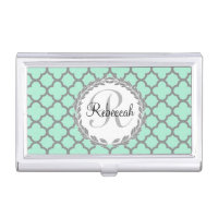 Pretty Green and Gray Quatrefoil Monogram Laurel Business Card Case