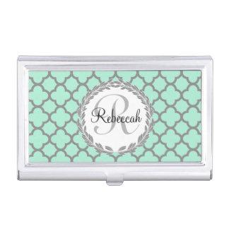 Pretty Green and Gray Quatrefoil Monogram Laurel Business Card Case