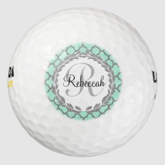 Pretty Green and Gray Quatrefoil Monogram Laurel Golf Balls
