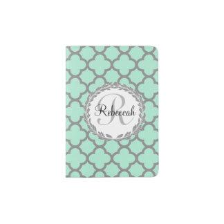 Pretty Green and Gray Quatrefoil Monogram Laurel Passport Holder