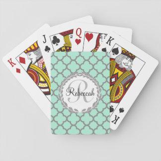Pretty Green and Gray Quatrefoil Monogram Laurel Playing Cards