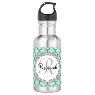 Pretty Green and Gray Quatrefoil Monogram Laurel Water Bottle