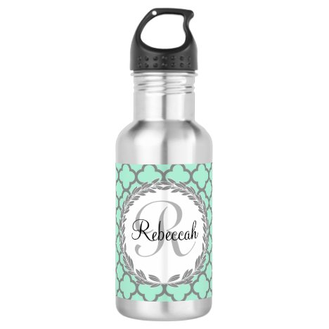 Pretty Green and Gray Quatrefoil Monogram Laurel Water Bottle