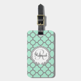 Pretty Green and Gray Quatrefoil Monogram Name Tag For Luggage