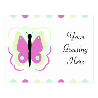 Pretty Green And Magenta Butterfly Postcard