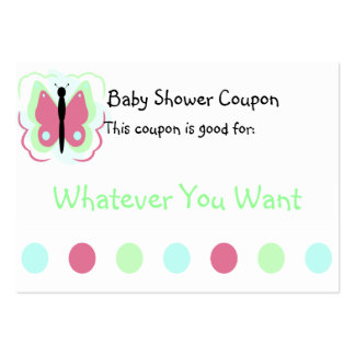 Pretty Green And Pink Butterfly Coupon Business Cards