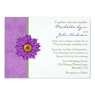 Pretty Green and Purple Flower Wedding Invitation
