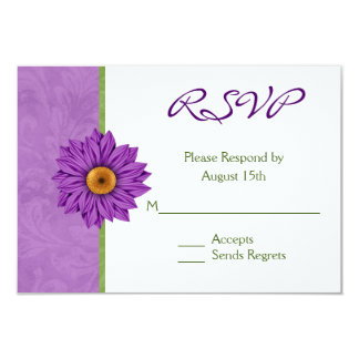 Pretty Green and Purple Flower Wedding RSVP Cards
