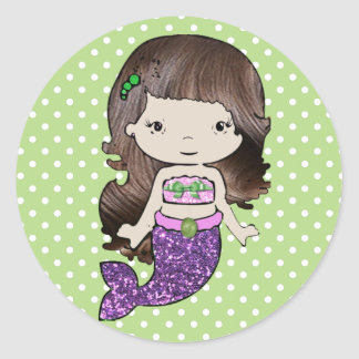 Pretty Green and Purple Mermaid Stickers