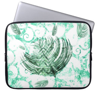 Pretty Green and White Pattern Feather Laptop Computer Sleeve