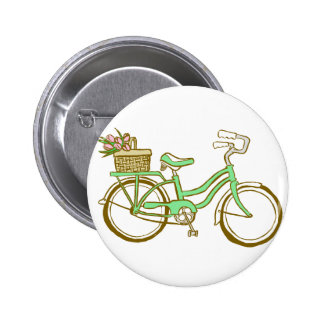 Pretty Green Bicycle with Tulips 2 Inch Round Button