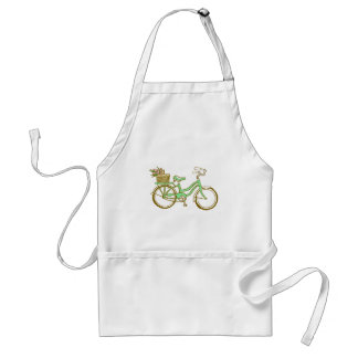Pretty Green Bicycle with Tulips Adult Apron
