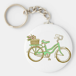 Pretty Green Bicycle with Tulips Basic Round Button Keychain