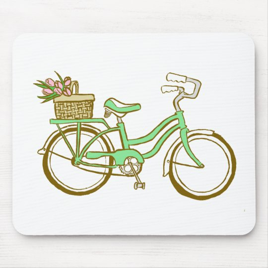 Pretty Green Bicycle with Tulips Mouse Pad
