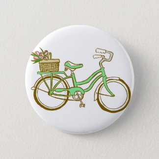 Pretty Green Bicycle with Tulips Pinback Button