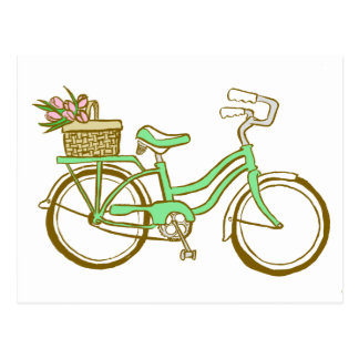 Pretty Green Bicycle with Tulips Postcard