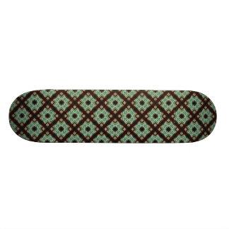 pretty green brown crisscross pattern custom skateboard
