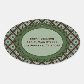 Pretty Green Brown Crisscross pattern Oval Sticker