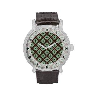 Pretty Green Brown Crisscross Pattern Wristwatches