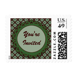 Pretty Green Brown Party Invitations Postage Stamps