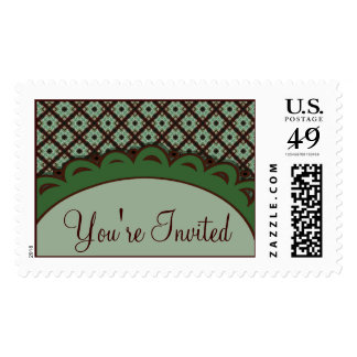 Pretty Green Brown Party Invitations Stamps