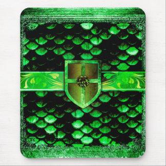 Pretty Green Dragon Scales Ancient Tome Magic Book Mouse Pad