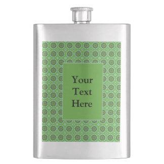 Pretty Green Floral Pattern Flask