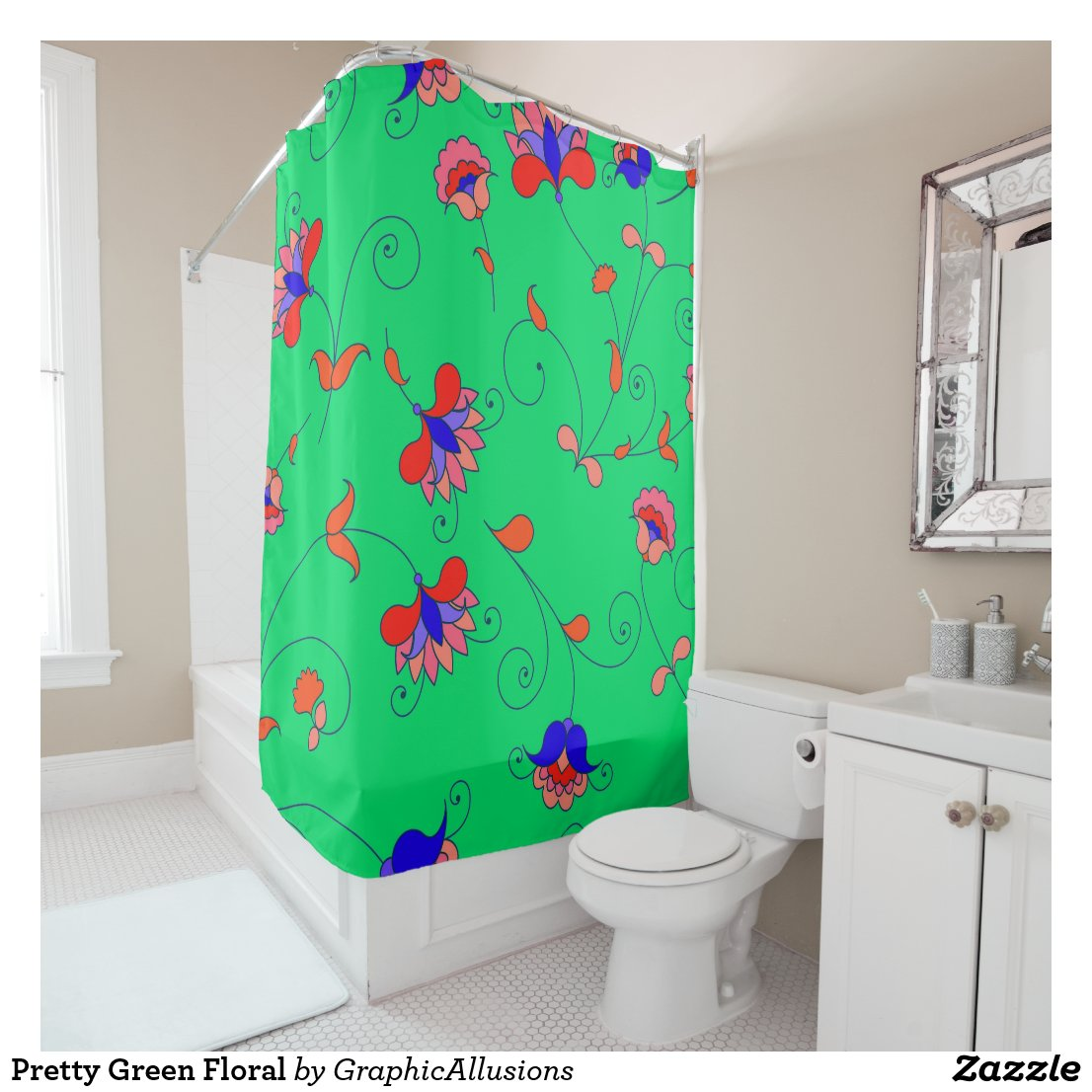 Pretty Green Floral Shower Curtain