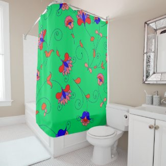 Pretty Green Floral Shower Curtain