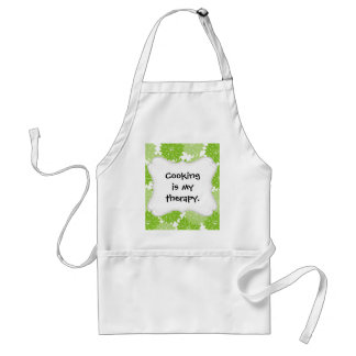 Pretty Green Flower Blossoms Floral Pattern Adult Apron