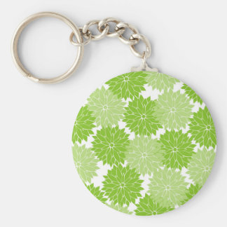 Pretty green Flower Blossoms Floral Pattern Keychain