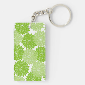 Pretty Green Flower Blossoms Floral Pattern Acrylic Keychain