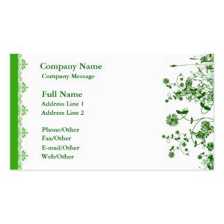 Pretty Green Flower Business Card Template