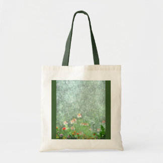 Pretty Green Flower Garden in Rain Tote Bag