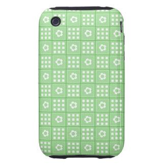 Pretty Green Flower Patchwork Quilt Pattern iPhone 3 Tough Case
