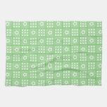 Pretty Green Flower Patchwork Quilt Pattern Kitchen Towels