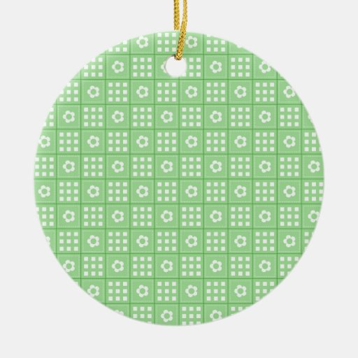 Pretty Green Flower Patchwork Quilt Pattern Christmas Ornaments