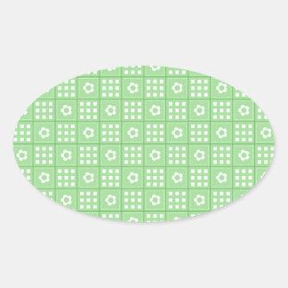 Pretty Green Flower Patchwork Quilt Pattern Oval Sticker