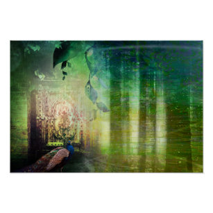 Pretty Green Gates of Paradise Peacock Forest Poster