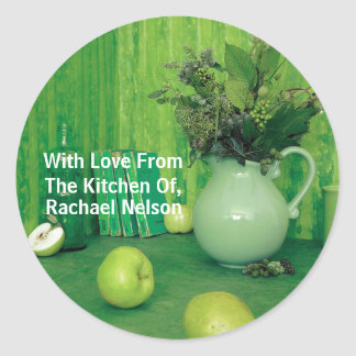 Pretty Green Home Made Food Label Classic Round Sticker