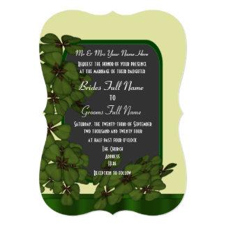 Pretty green Irish shamrock wedding Card